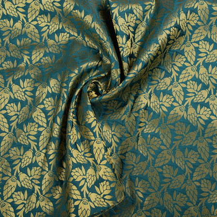 Green and Golden Floral Brocade Silk Fabric-8547