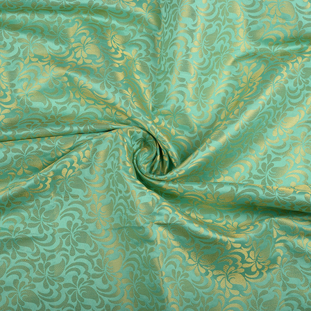 Green and Golden Floral Brocade Silk Fabric-8561