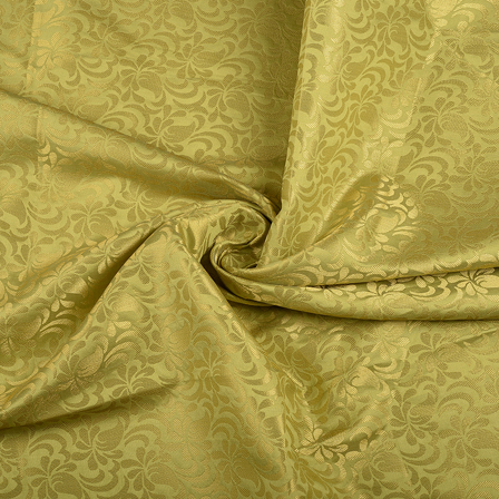 Green and Golden Floral Brocade Silk Fabric-8567