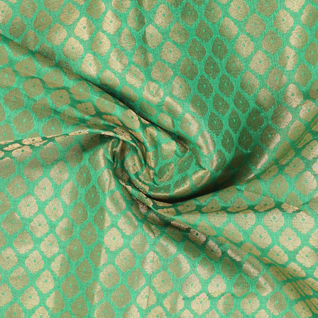 Green and Golden Floral Brocade Silk Fabric-8916
