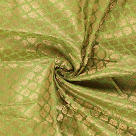 Green and Golden Floral Brocade Silk Fabric-8918