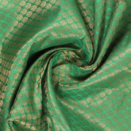 Green and Golden Floral Brocade Silk Fabric-8927