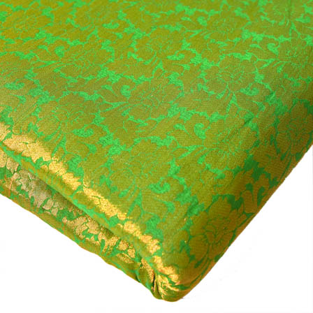 Green and Golden Floral Design Brocade Silk Fabric-8194