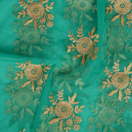 Green and Golden Floral Design Embroidery Net Fabric-60298