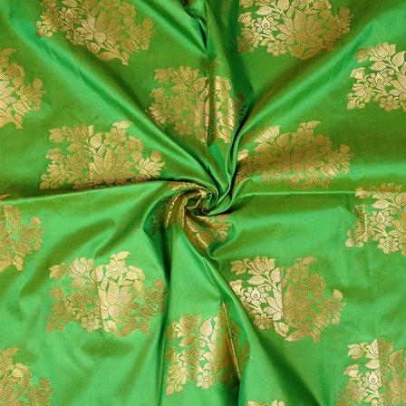 Green and Golden Floral Design Two Tone Banarasi Silk Fabric-8418