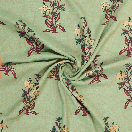 Green and Golden Floral Jam Cotton Silk Fabric-75164