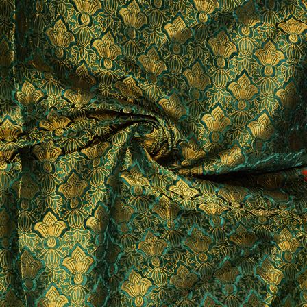 Green and Golden Floral Kinkhab Banarasi Brocade Fabric-8503
