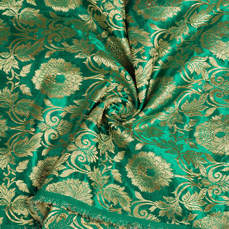 Green and Golden Floral Kinkhab Banarasi Brocade Fabric-8504