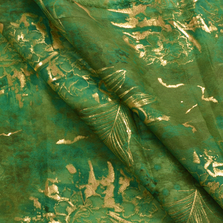 Green and Golden Floral Pattern Organza Silk Fabric-50008