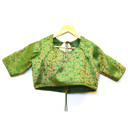 Green and Golden Floral Silk Brocade Blouse-30084