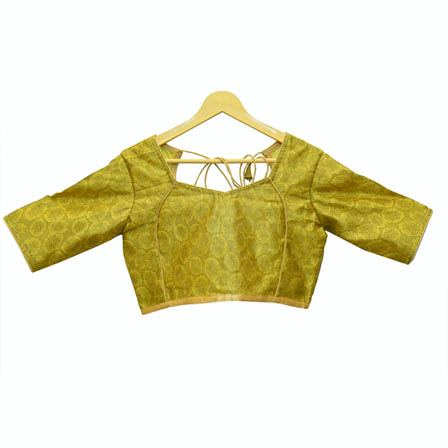 Green and Golden Floral Silk Brocade Blouse-30099