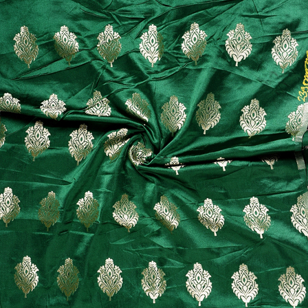 Green and Golden Floral Silk Satin Brocade Fabric-8676