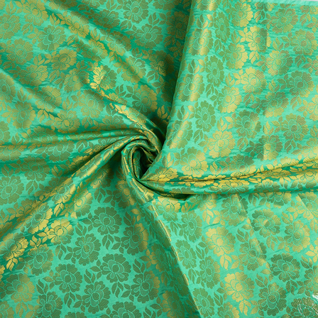 Green and Golden Flower Brocade Fabric-8550