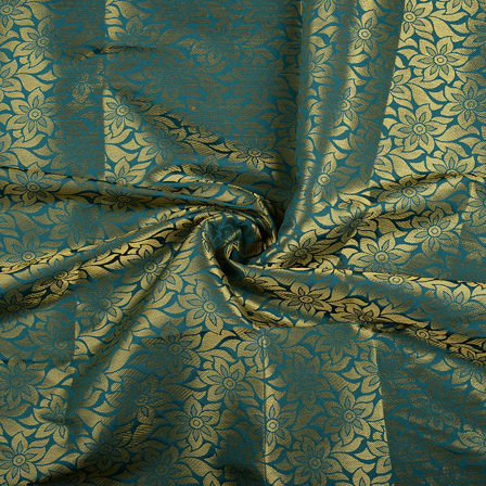 Green and Golden Flower Brocade Silk Fabric-8555