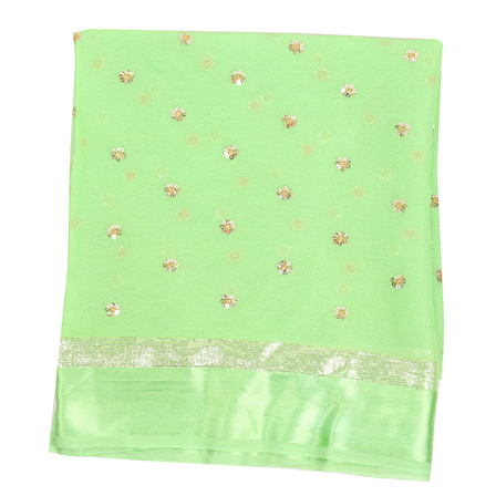 Green and Golden Flower Chiffon Embroidery Fabric-29136