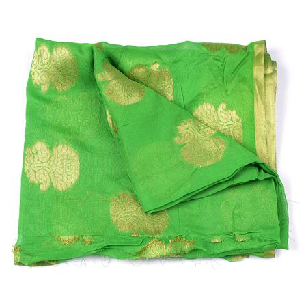 Green and Golden Flower Design Chiffon Fabric-29032