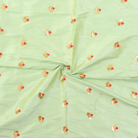 Green and Golden Flower Design Silk Embroidery Fabric-60130