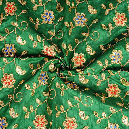 Green and Golden Flower Design Silk Embroidery Fabric-60287