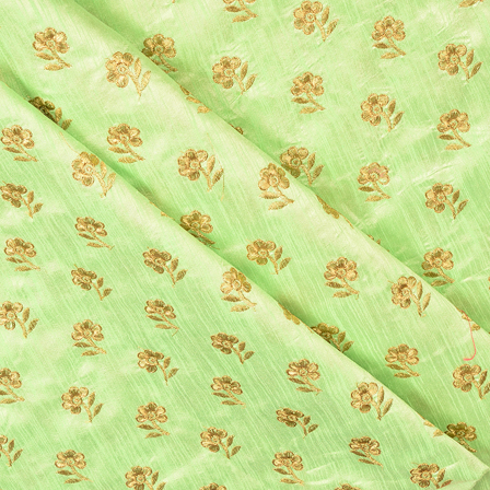 Green and Golden Flower Design Silk Embroidery Fabric-60403