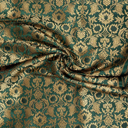 Green and Golden Flower Design Pure Banarasi Silk Fabric-8471