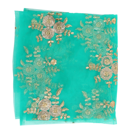 Green and Golden Flower Flower Embroidery Net Fabric-60887