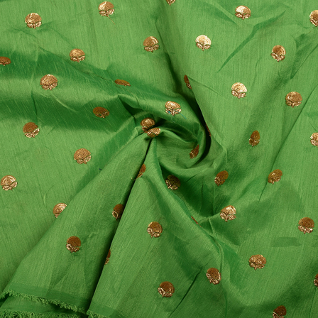 Green and Golden Flower Malbari Embroidery Silk-60706