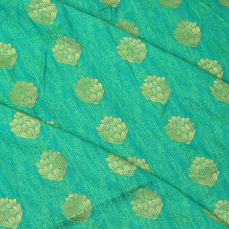 Green and Golden Flower Patten Brocade Silk Fabric-8335