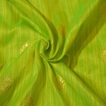 Green and Golden Flower Pattern Brocade Silk Fabric-8034