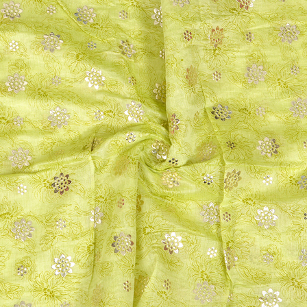 Green and Silver Flower Pattern Chanderi Silk Fabric-9017