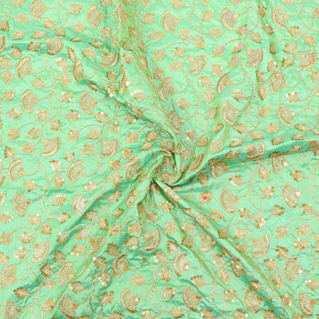 Green and Golden Flower Pattern Silk Embroidery Fabric-60138