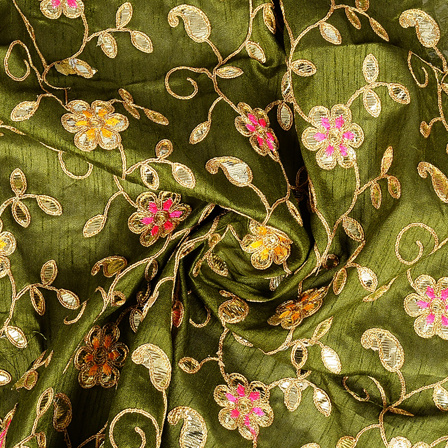 Green and Golden Flower Pattern Silk Embroidery Fabric-60289