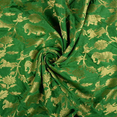 Green and Golden Flower Satin Brocade Fabric-8587