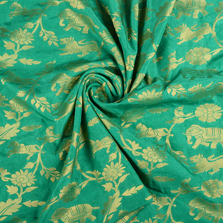 Green and Golden Flower Satin Brocade Fabric-8589