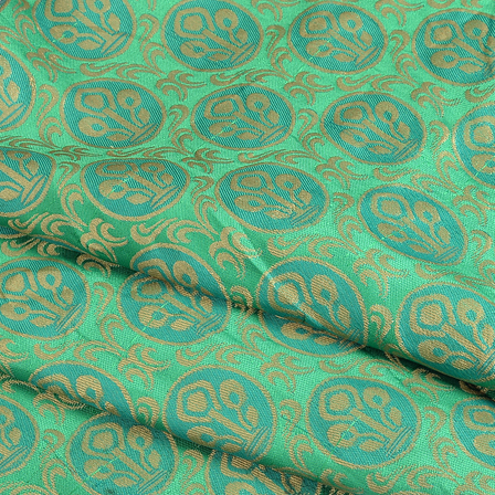 Green and Golden Flower Silk Brocade Fabric-8613