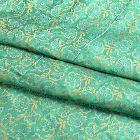 Green and Golden Flower Silk Brocade Fabric-8618
