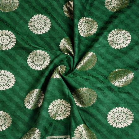 Green and Golden Flower Silk Satin Brocade Fabric-8675