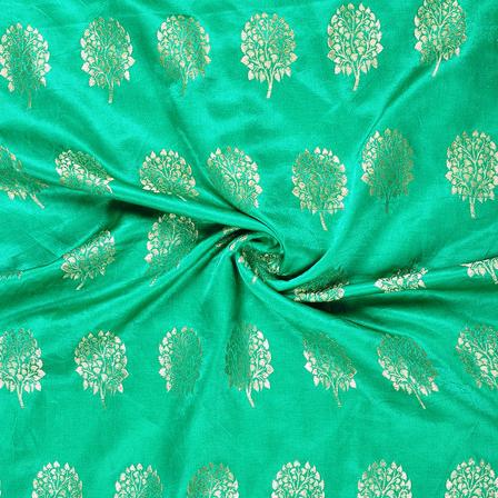 Green and Golden Flower Silk Satin Brocade Fabric-8682