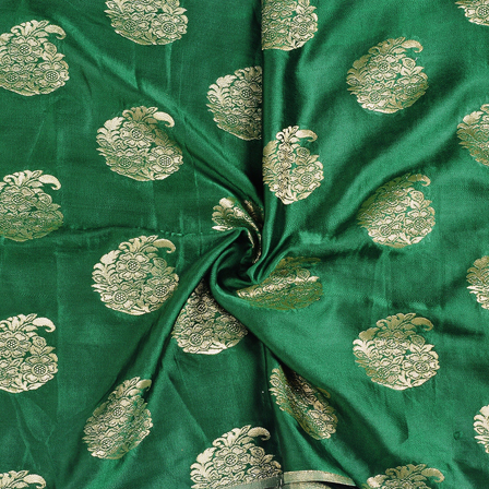 Green and Golden Flower Silk Satin Brocade Fabric-8688