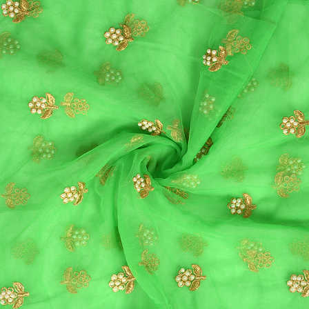 Green and Golden Flower With Pearl Design Embroidery Net Fabric-60310