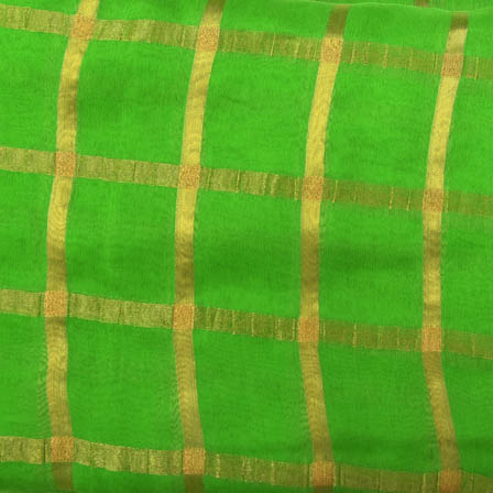 Green and Golden Large Zari Checks Design Georgette Cotton Fabric-29005