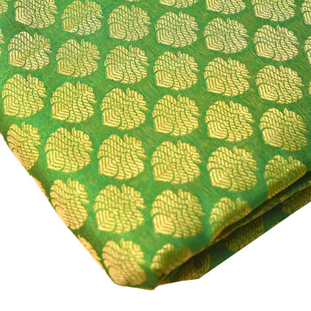 Green and Golden Big Leaf Brocade Silk Fabric-8243