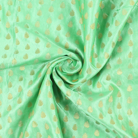 Green and Golden Leaf Brocade Silk Fabric-8889