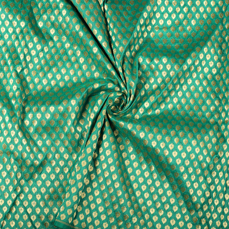 Green and Golden Leaf Design Brocade Banarasi Silk Fabric-8483
