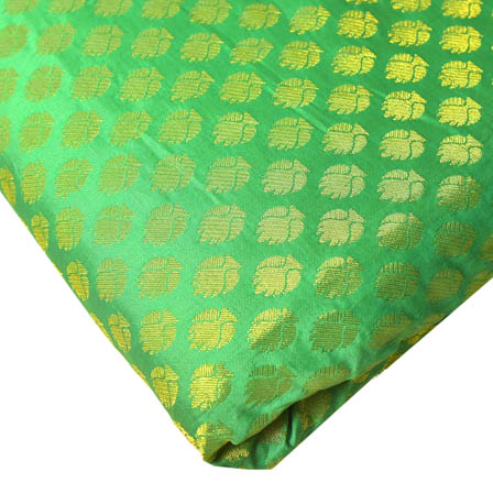 Green and Golden Leaf Design Brocade Silk Fabric-8193