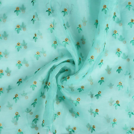 Green and Golden Leaf Design Embroidery Organza Fabric-50064