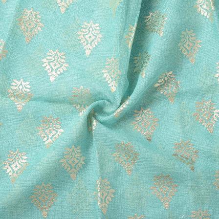 Green and Golden Leaf Design Kota Doria Fabric-25067
