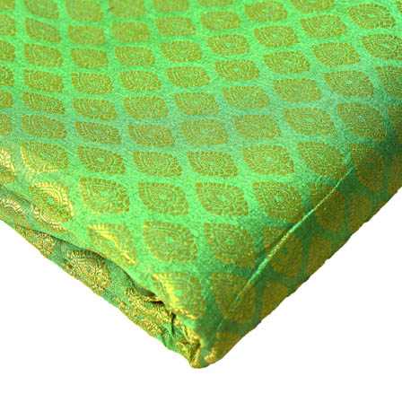 Green and Golden Big Leaf Pattern Brocade Silk Fabric-8217