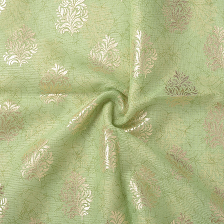 Green and Golden Leaf Pattern Kota Doria Fabric-25062