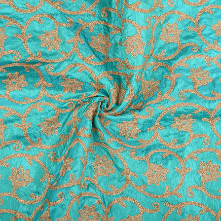 Green and Golden Leaf Pattern Paper Silk Embroidery Fabric-60612