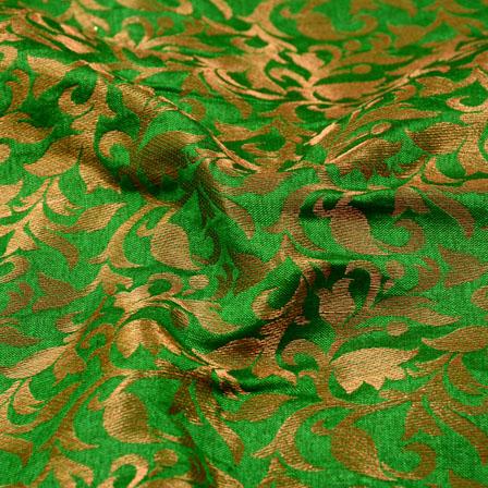 Green and Golden Leaf Shape Chanderi Silk Fabric-5457